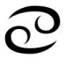 Astrological glyph for the zodiac sign Cancer